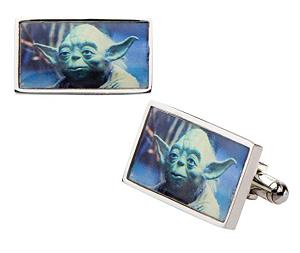 Bouton de manchette rectangulaire maître Yoda